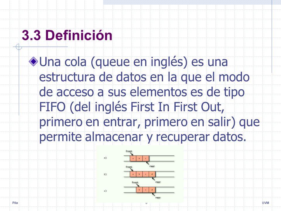 Pila5UVM 3.3 Definición Una cola (queue en inglés) es una estructura de datos en la que el modo de acceso a sus elementos es de tipo FIFO (del inglés First In First Out, primero en entrar, primero en salir) que permite almacenar y recuperar datos.