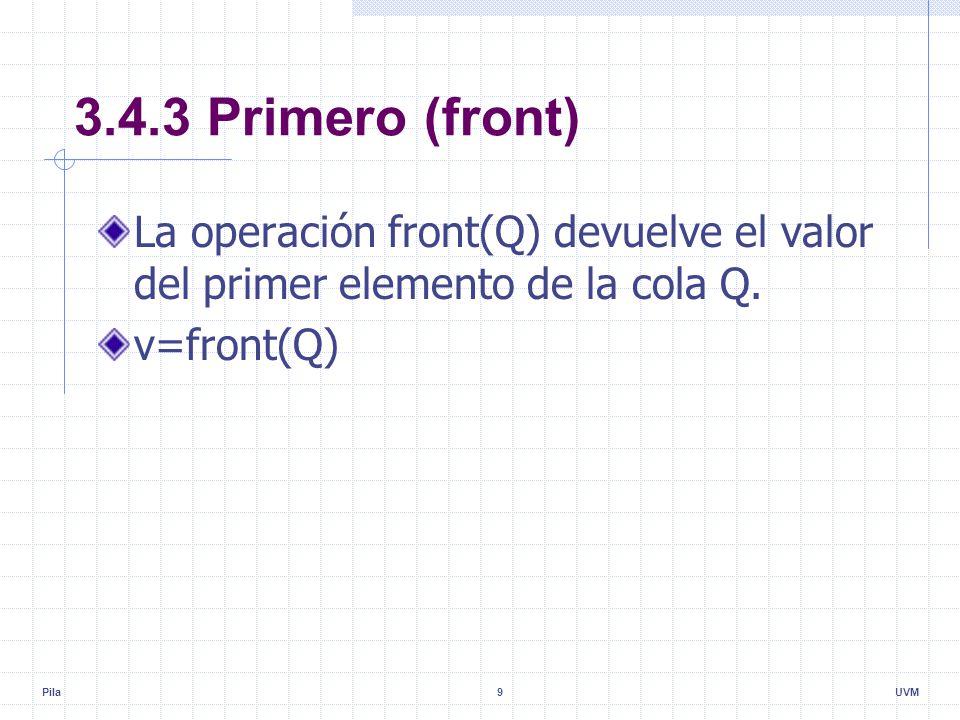 Pila9UVM 3.4.3 Primero (front) La operación front(Q) devuelve el valor del primer elemento de la cola Q.