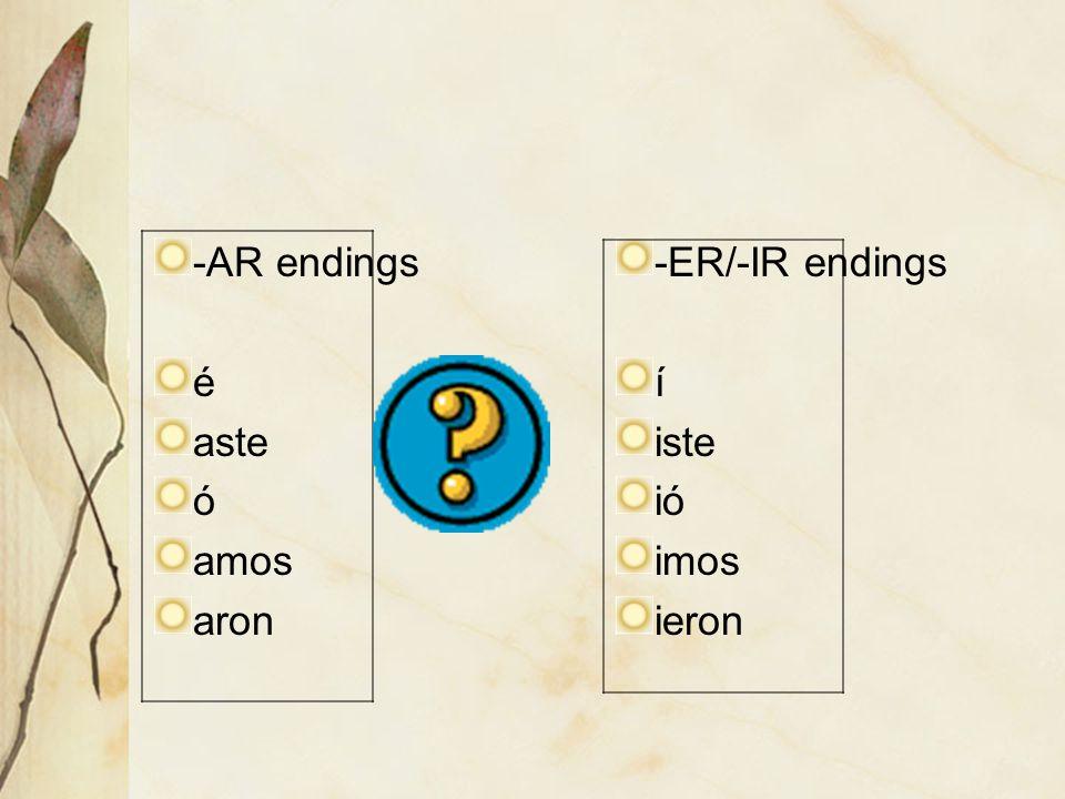 -AR endings é aste ó amos aron -ER/-IR endings í iste ióió imos ieron