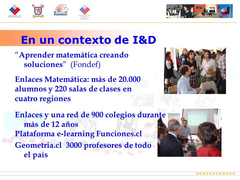 En un contexto de I&D Aprender matemática creando soluciones (Fondef) Enlaces y una red de 900 colegios durante más de 12 años Plataforma e-learning Funciones.cl Geometria.cl 3000 profesores de todo el país Enlaces Matemática: más de 20.000 alumnos y 220 salas de clases en cuatro regiones