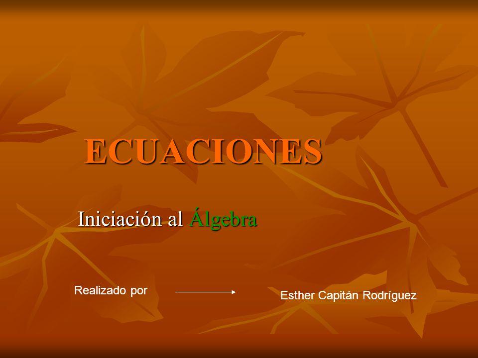 ECUACIONES Iniciación al Álgebra Realizado por Esther Capitán Rodríguez