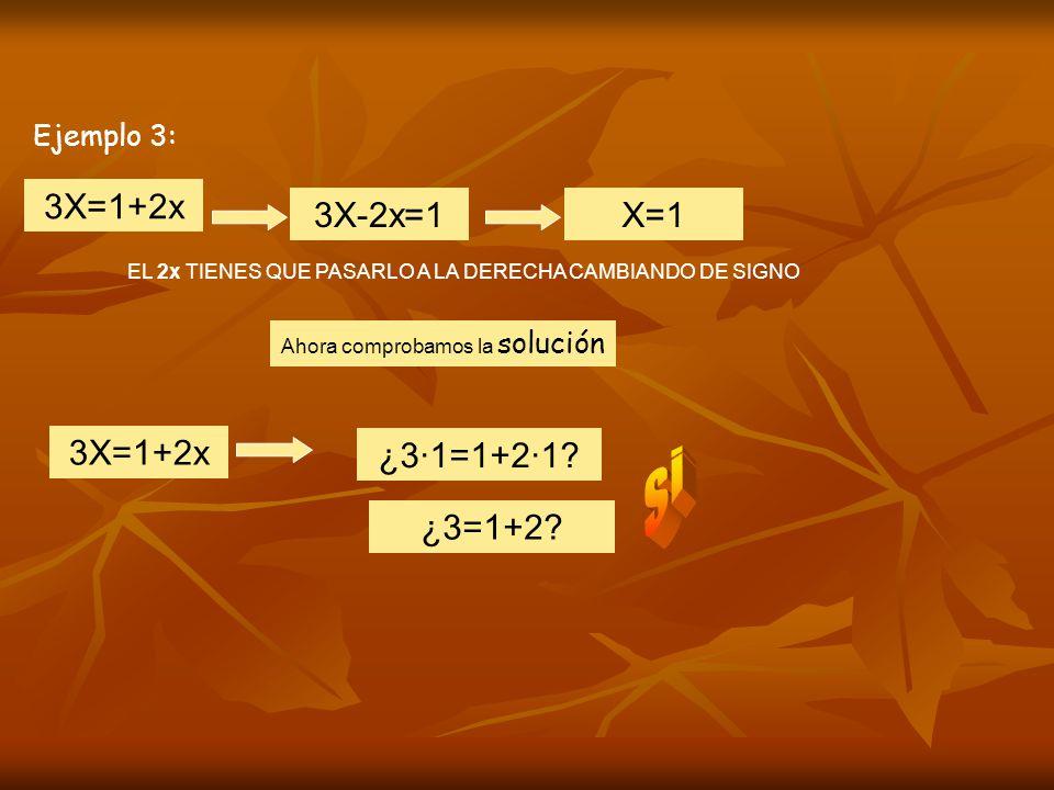 Ejemplo 3: 3X=1+2x EL 2x TIENES QUE PASARLO A LA DERECHA CAMBIANDO DE SIGNO 3X-2x=1X=1 Ahora comprobamos la solución ¿3·1=1+2·1.