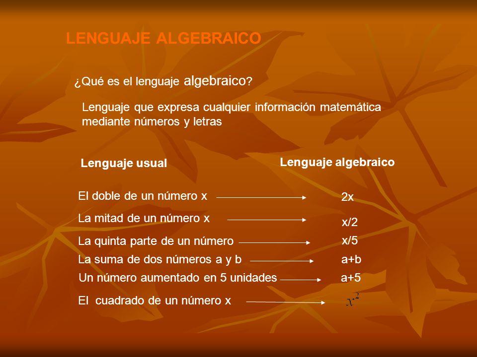 LENGUAJE ALGEBRAICO ¿Qué es el lenguaje algebraico .