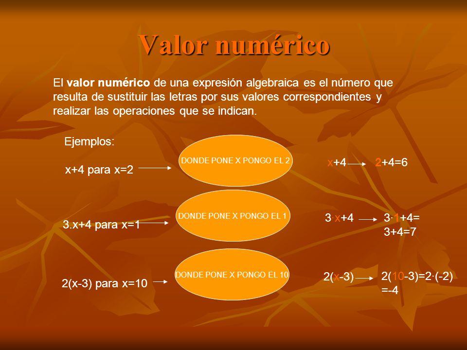 Valor numérico El valor numérico de una expresión algebraica es el número que resulta de sustituir las letras por sus valores correspondientes y realizar las operaciones que se indican.