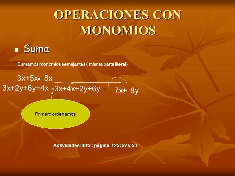 OPERACIONES CON MONOMIOS Suma Suma Sumamos monomios semejantes ( misma parte literal) 3x+5x = 8x 3x+2y+6y+4x = Primero ordenamos 3x+4x+2y+6y = 7x+8y Actividades libro : página 125: 52 y 53