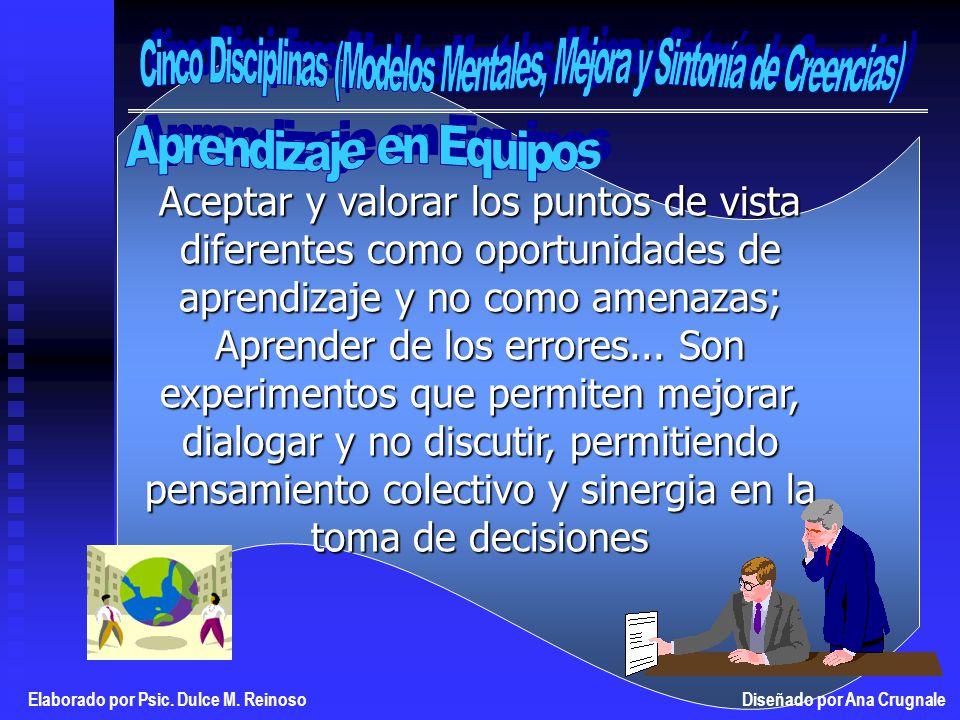 Aceptar y valorar los puntos de vista diferentes como oportunidades de aprendizaje y no como amenazas; Aprender de los errores...