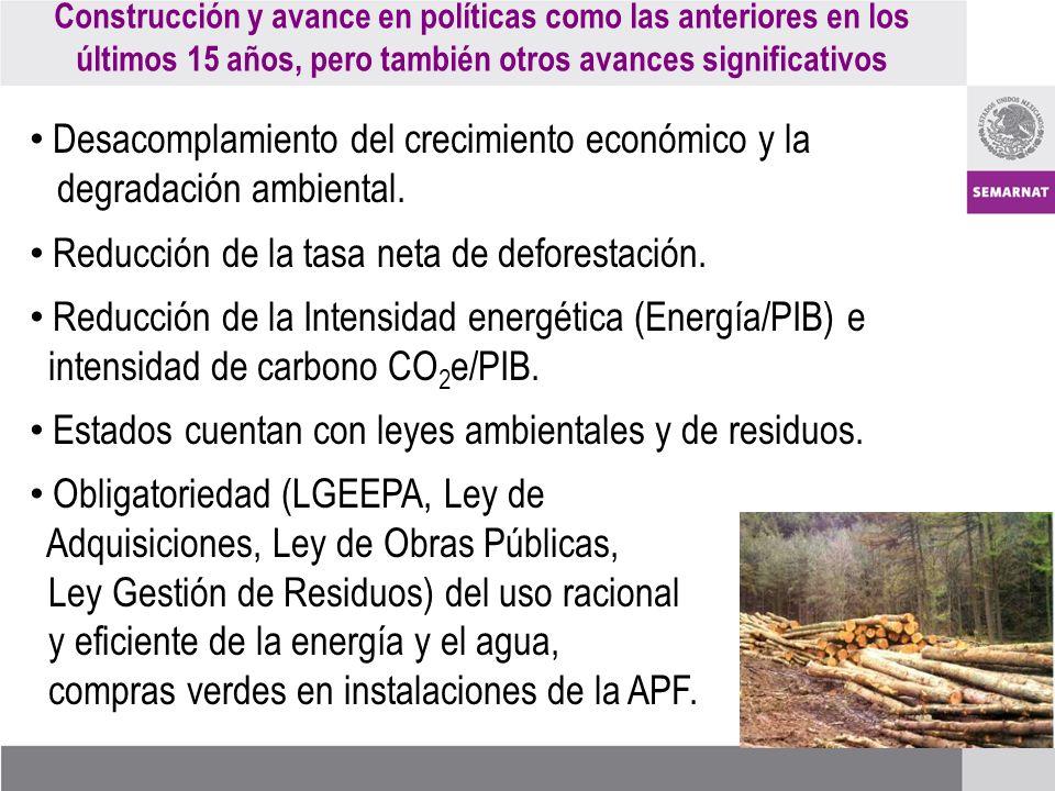 Desacomplamiento del crecimiento económico y la degradación ambiental.