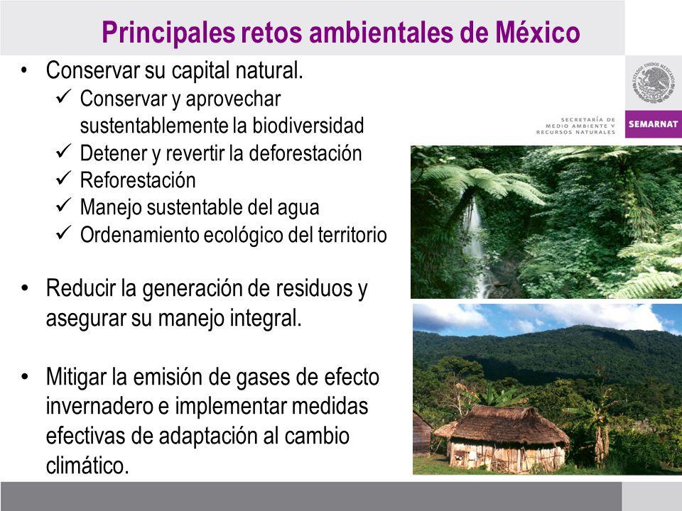 Principales retos ambientales de México Conservar su capital natural.
