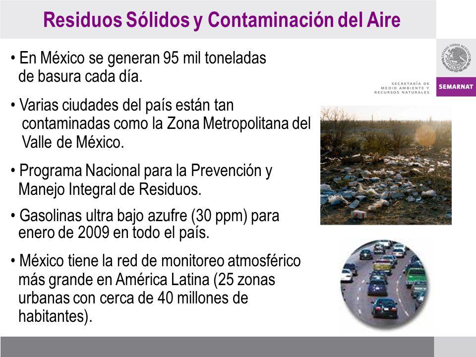 Residuos Sólidos y Contaminación del Aire En México se generan 95 mil toneladas de basura cada día.