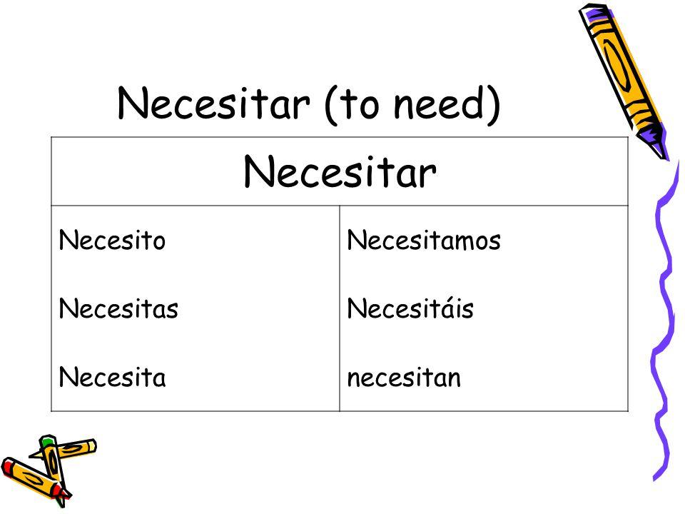 Necesitar (to need) Necesitar NecesitoNecesitamos NecesitasNecesitáis Necesitanecesitan