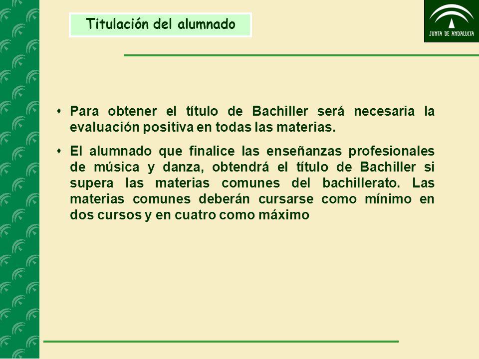 Titulación del alumnado  Para obtener el título de Bachiller será necesaria la evaluación positiva en todas las materias.