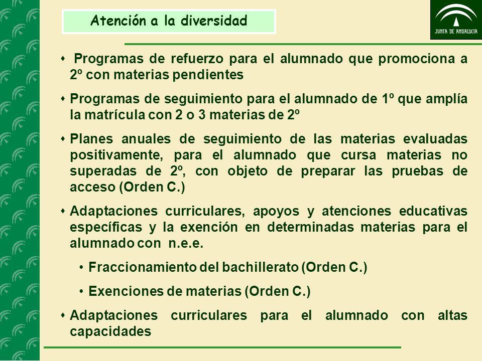 Atención a la diversidad  Programas de refuerzo para el alumnado que promociona a 2º con materias pendientes  Programas de seguimiento para el alumnado de 1º que amplía la matrícula con 2 o 3 materias de 2º  Planes anuales de seguimiento de las materias evaluadas positivamente, para el alumnado que cursa materias no superadas de 2º, con objeto de preparar las pruebas de acceso (Orden C.)  Adaptaciones curriculares, apoyos y atenciones educativas específicas y la exención en determinadas materias para el alumnado con n.e.e.
