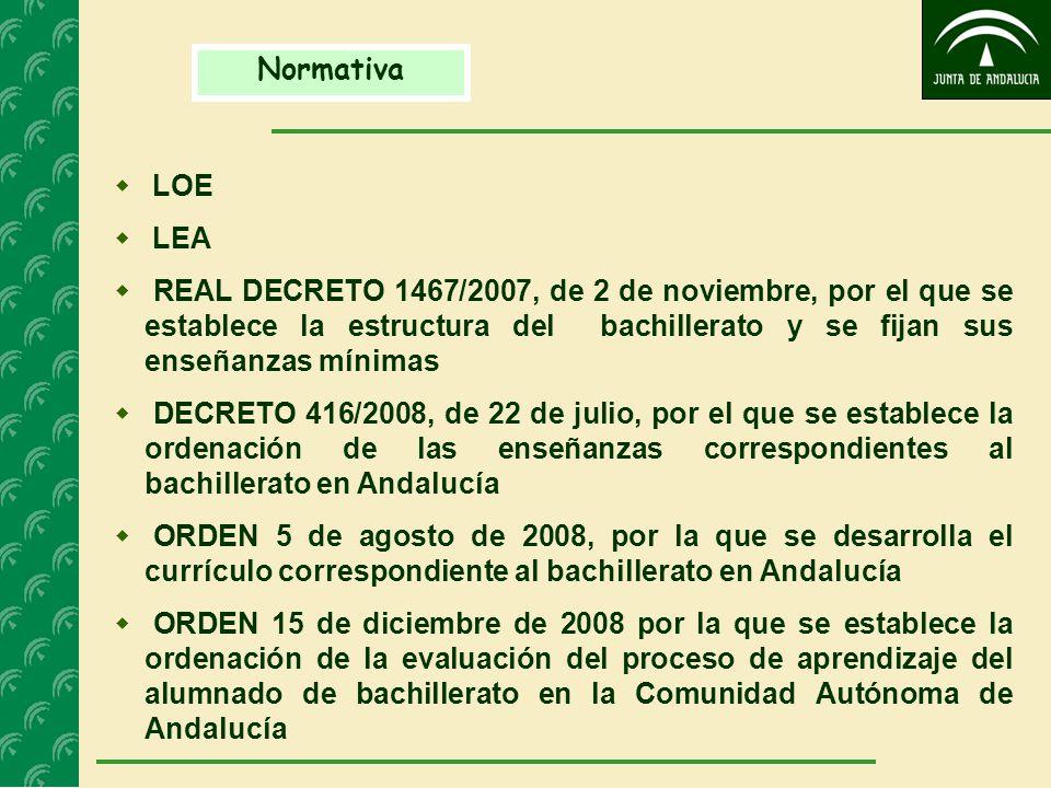 Normativa  LOE  LEA  REAL DECRETO 1467/2007, de 2 de noviembre, por el que se establece la estructura del bachillerato y se fijan sus enseñanzas mínimas  DECRETO 416/2008, de 22 de julio, por el que se establece la ordenación de las enseñanzas correspondientes al bachillerato en Andalucía  ORDEN 5 de agosto de 2008, por la que se desarrolla el currículo correspondiente al bachillerato en Andalucía  ORDEN 15 de diciembre de 2008 por la que se establece la ordenación de la evaluación del proceso de aprendizaje del alumnado de bachillerato en la Comunidad Autónoma de Andalucía