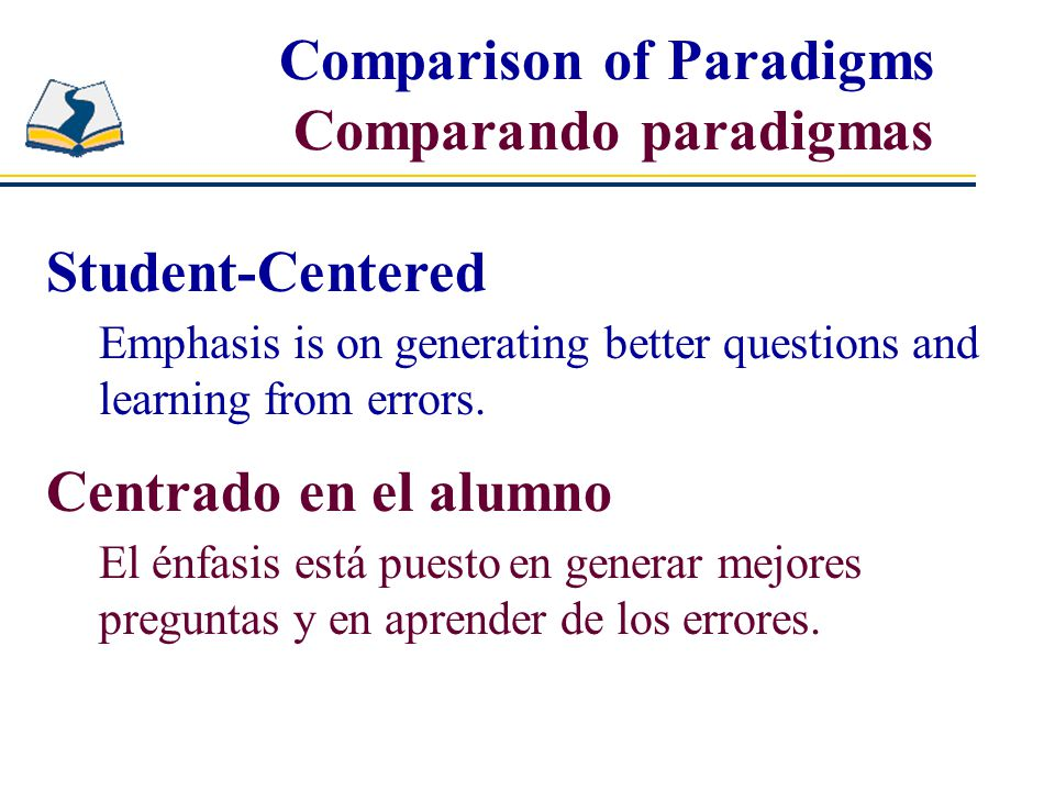 Student-Centered Emphasis is on generating better questions and learning from errors.