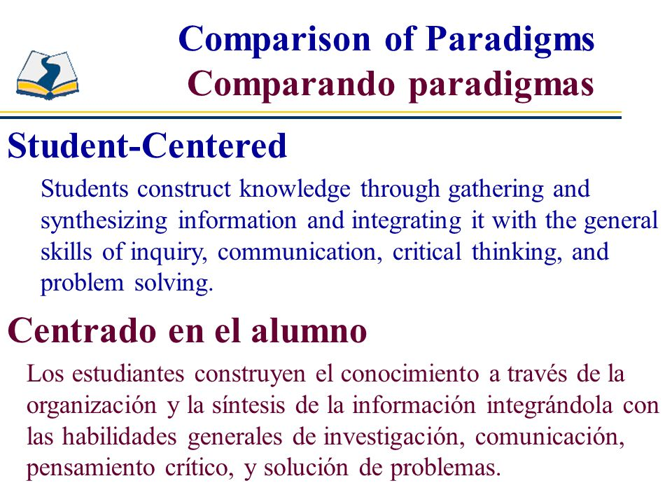Comparison of Paradigms Comparando paradigmas Student-Centered Students construct knowledge through gathering and synthesizing information and integrating it with the general skills of inquiry, communication, critical thinking, and problem solving.