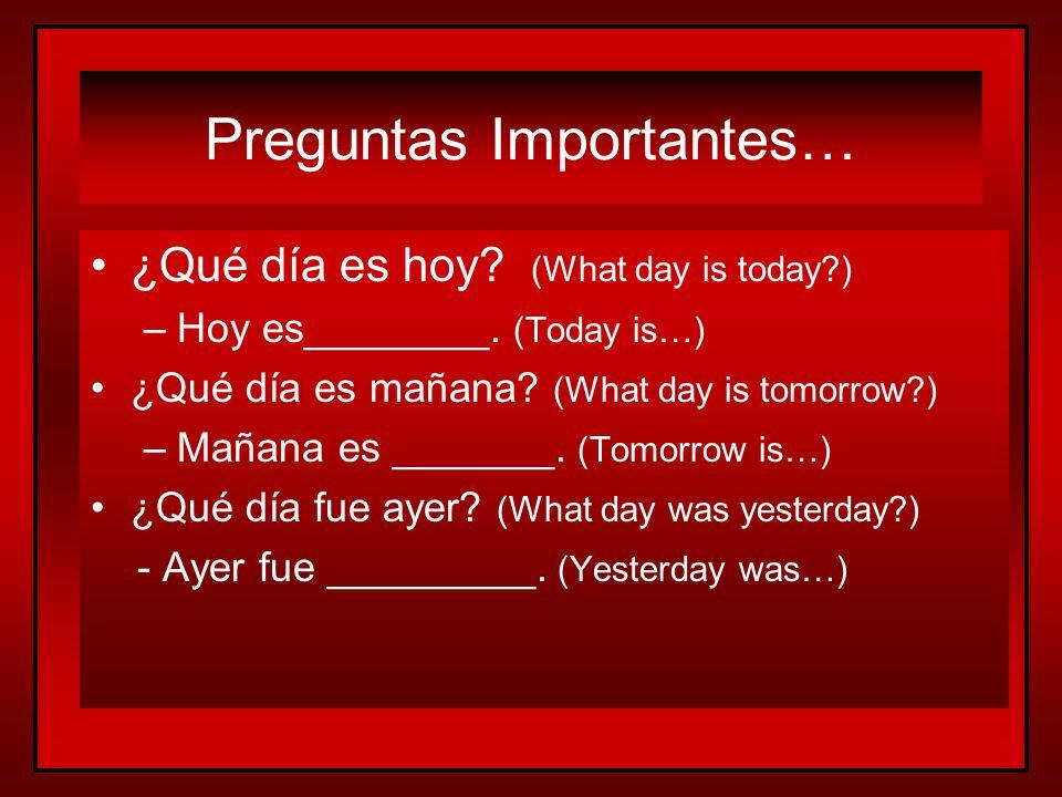 Más vocabulario sobre el calendario… Más vocabulario sobre el calendario… todos los días el fin de semana every day the weekend = =