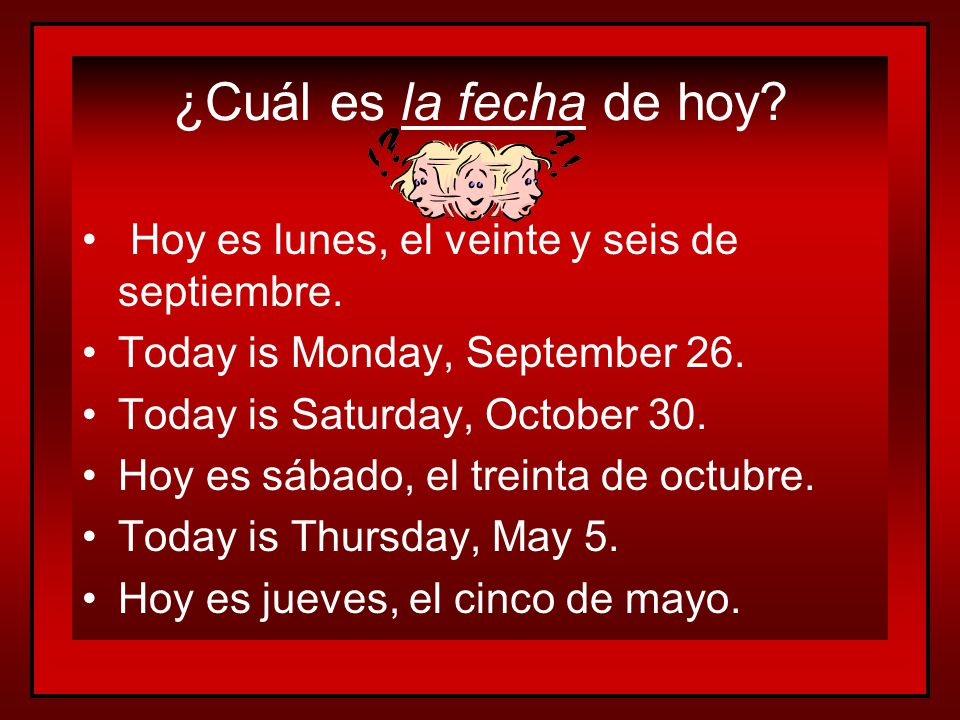 La Fecha To say the date in Spanish, start with: – Hoy es (Today is) –day of the week – el (the) –number – de (of) –month