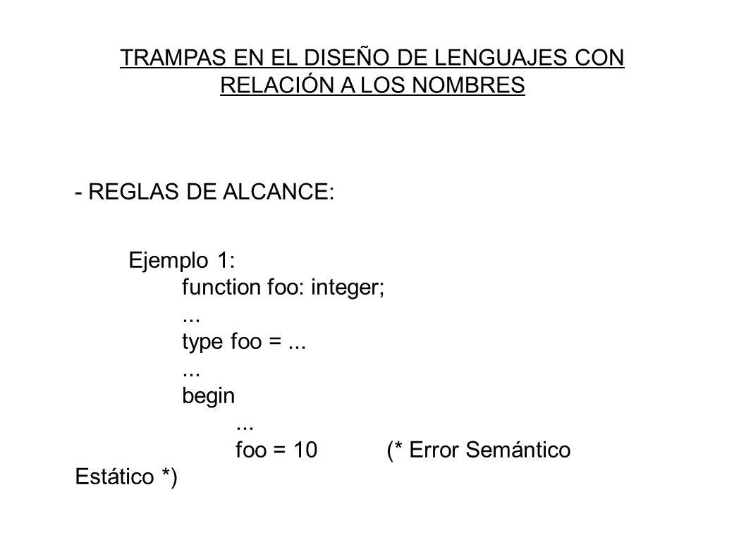 - REGLAS DE ALCANCE: Ejemplo 1: function foo: integer;...