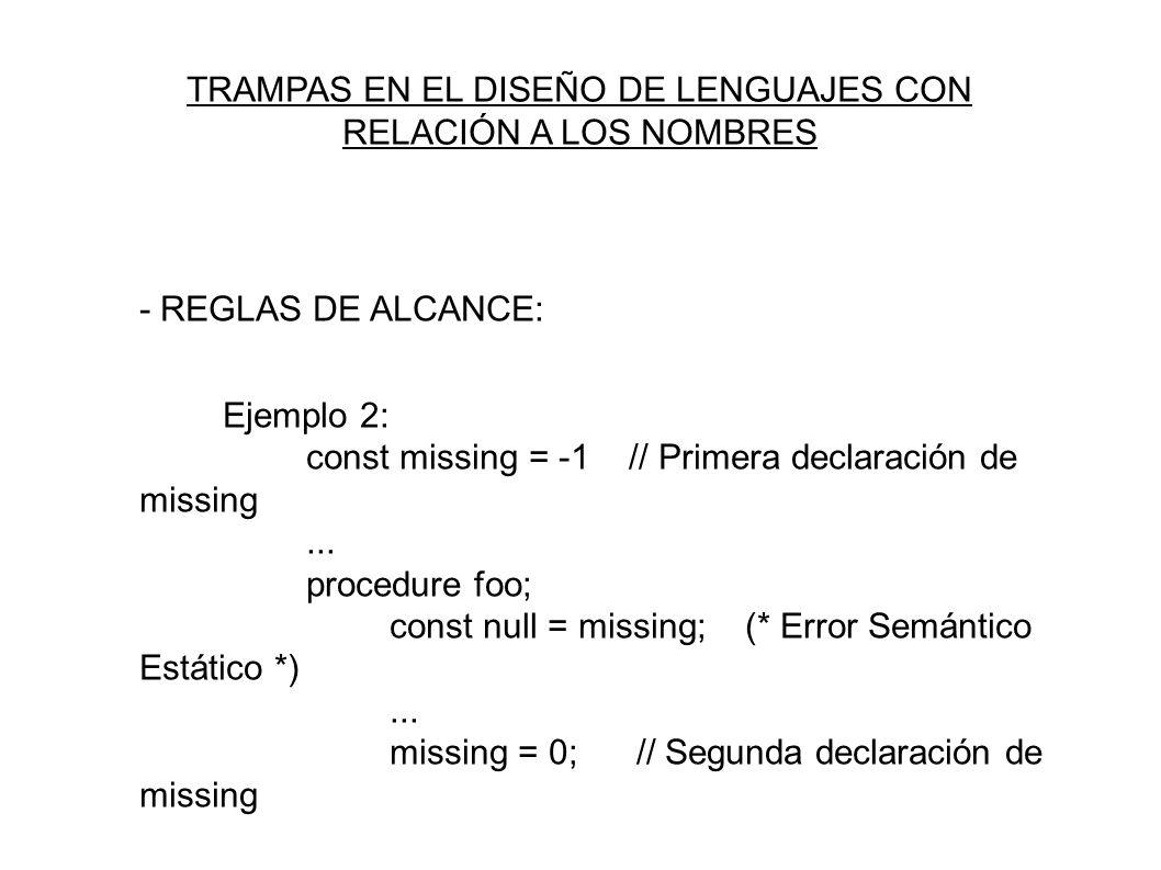 - REGLAS DE ALCANCE: Ejemplo 2: const missing = -1 // Primera declaración de missing...