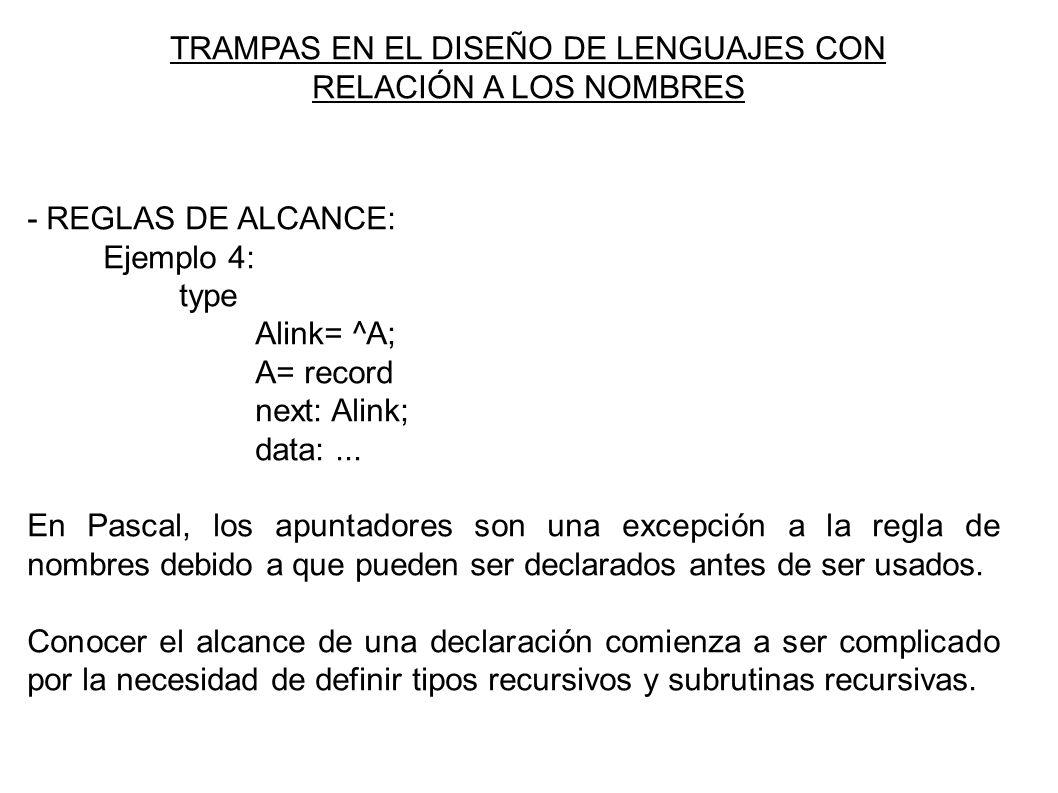 TRAMPAS EN EL DISEÑO DE LENGUAJES CON RELACIÓN A LOS NOMBRES - REGLAS DE ALCANCE: Ejemplo 4: type Alink= ^A; A= record next: Alink; data:...