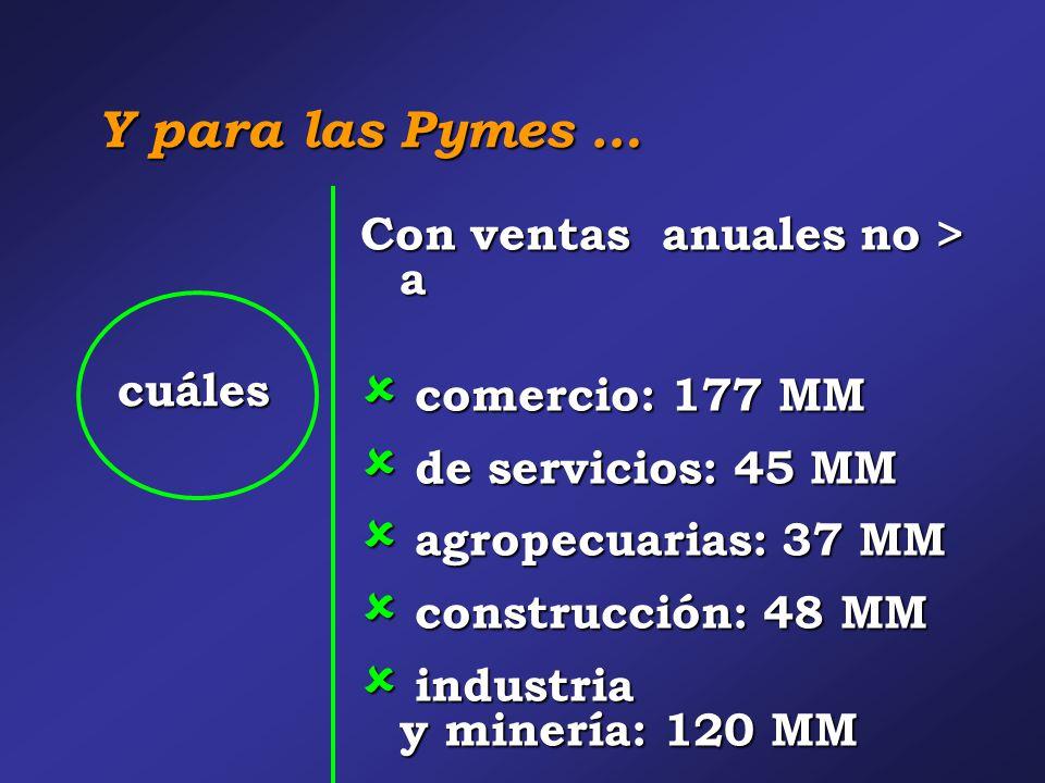 Y para las Pymes … cuáles Con ventas anuales no > a  comercio: 177 MM  de servicios: 45 MM  agropecuarias: 37 MM  construcción: 48 MM  industria y minería: 120 MM