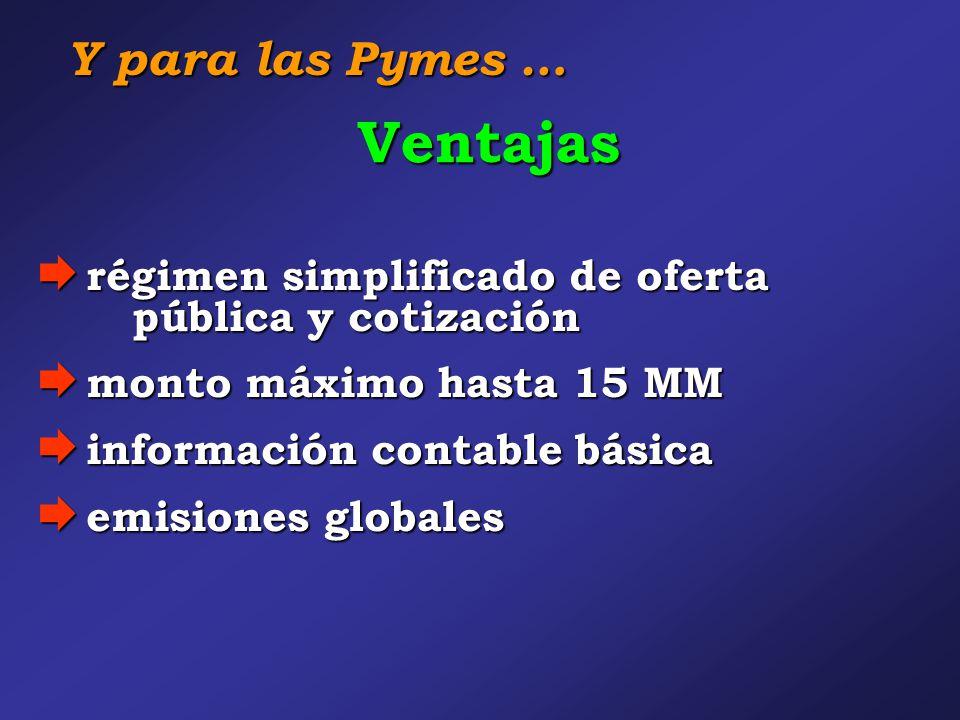 Ventajas  régimen simplificado de oferta pública y cotización  monto máximo hasta 15 MM  información contable básica  emisiones globales Y para las Pymes …