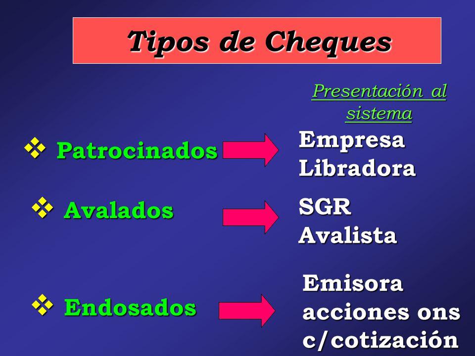 Tipos de Cheques  Patrocinados SGR Avalista  Avalados Empresa Libradora Presentación al sistema  Endosados Emisora acciones ons c/cotización