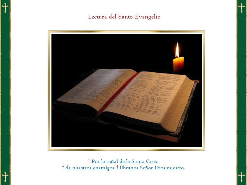 Lectura del Santo Evangelio † Por la señal de la Santa Cruz † de nuestros enemigos † líbranos Señor Dios nuestro.