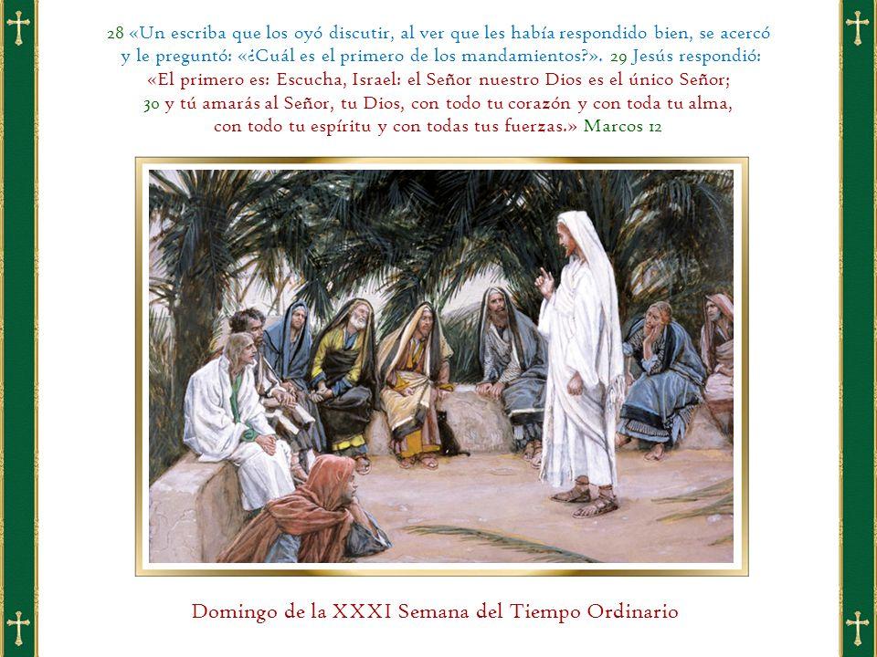 28 «Un escriba que los oyó discutir, al ver que les había respondido bien, se acercó y le preguntó: «¿Cuál es el primero de los mandamientos ».