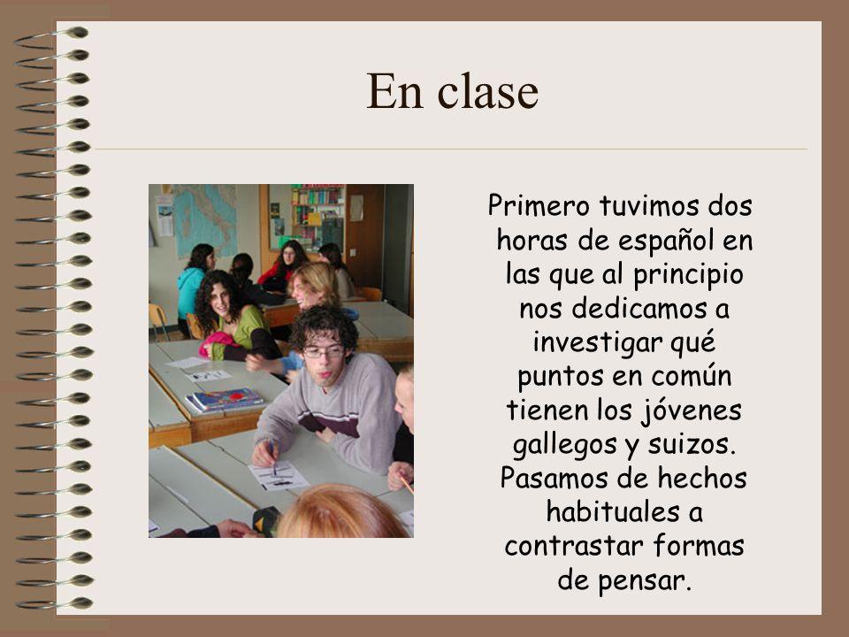 En clase Primero tuvimos dos horas de español en las que al principio nos dedicamos a investigar qué puntos en común tienen los jóvenes gallegos y suizos.