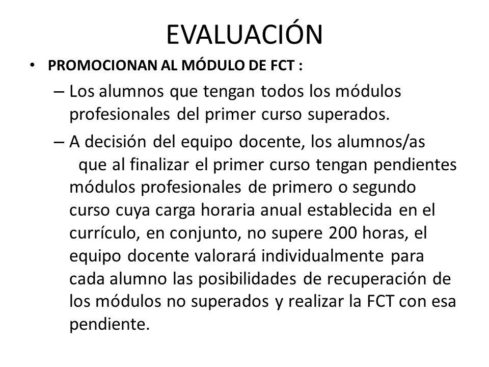 EVALUACIÓN PROMOCIONAN AL MÓDULO DE FCT : – Los alumnos que tengan todos los módulos profesionales del primer curso superados.
