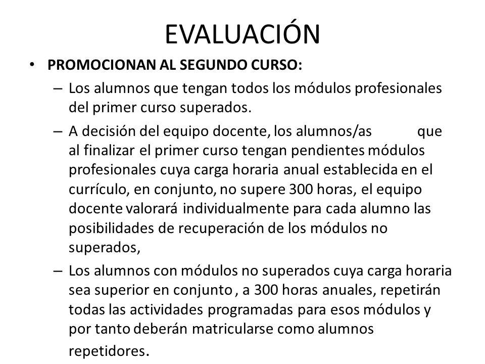 EVALUACIÓN PROMOCIONAN AL SEGUNDO CURSO: – Los alumnos que tengan todos los módulos profesionales del primer curso superados.