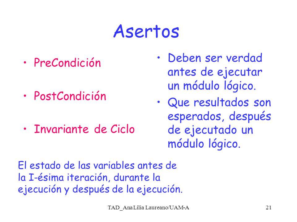 TAD_Ana Lilia Laureano/UAM-A20 Beneficios Demostrar mediante argumentos lógicos que un diseño o implementación satisface los asertos.