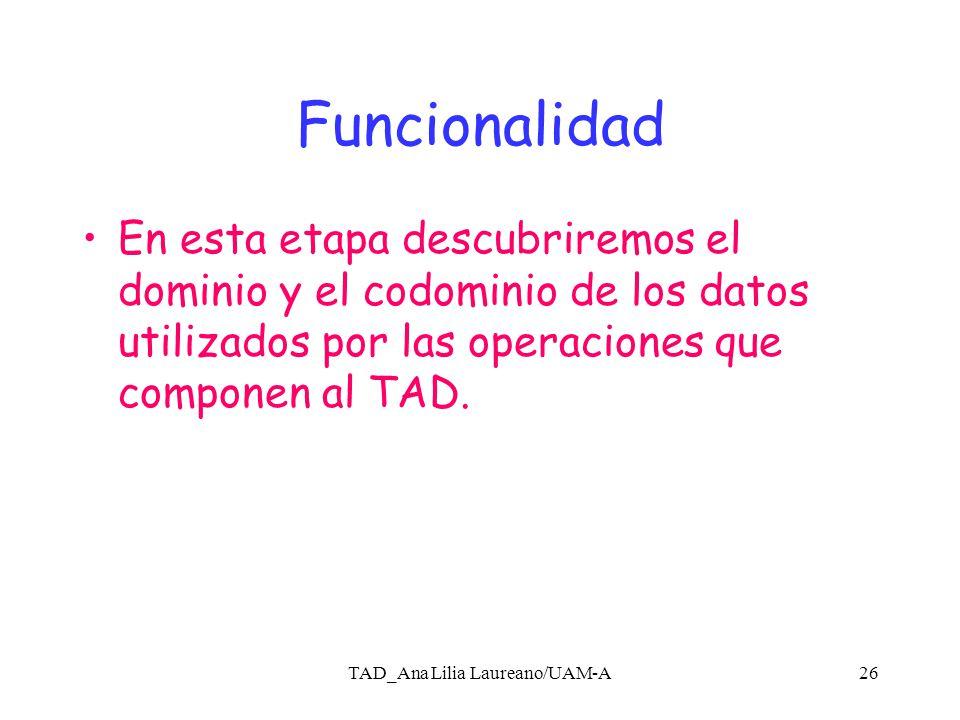 TAD_Ana Lilia Laureano/UAM-A25 Especificación Realizar una descripción en función de las operciones que necesita para: 1.