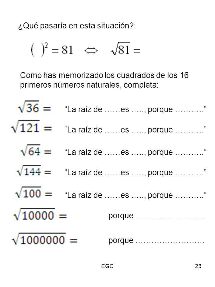 """23 ¿Qué pasaría en esta situación?: Como has memorizado los cuadrados de los 16 primeros números naturales, completa: """"La raíz de ……es ….., porque ………"""