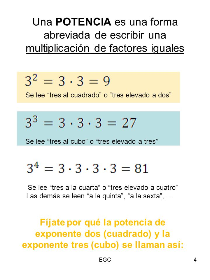 """Una POTENCIA es una forma abreviada de escribir una multiplicación de factores iguales 4 Se lee """"tres al cuadrado"""" o """"tres elevado a dos"""" Se lee """"tres"""