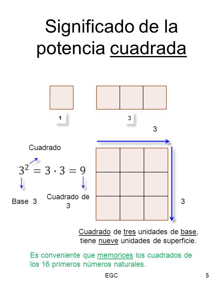 Significado de la potencia cuadrada 5 3 3 Cuadrado de tres unidades de base, tiene nueve unidades de superficie. Base 3 Cuadrado Cuadrado de 3 Es conv