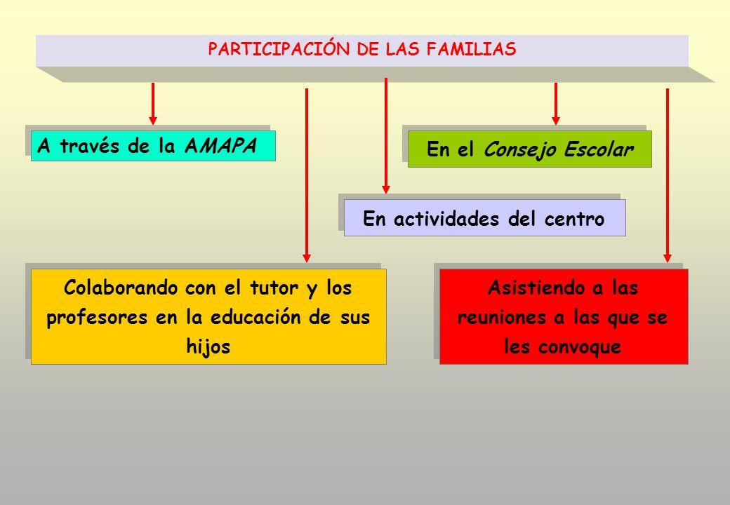 En actividades del centro En el Consejo Escolar Colaborando con el tutor y los profesores en la educación de sus hijos A través de la AMAPA PARTICIPACIÓN DE LAS FAMILIAS Asistiendo a las reuniones a las que se les convoque