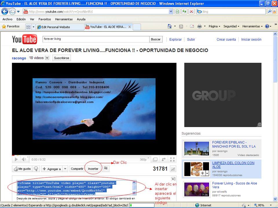 Dar Clic Al dar clic en insertar aparecerá el siguiente código
