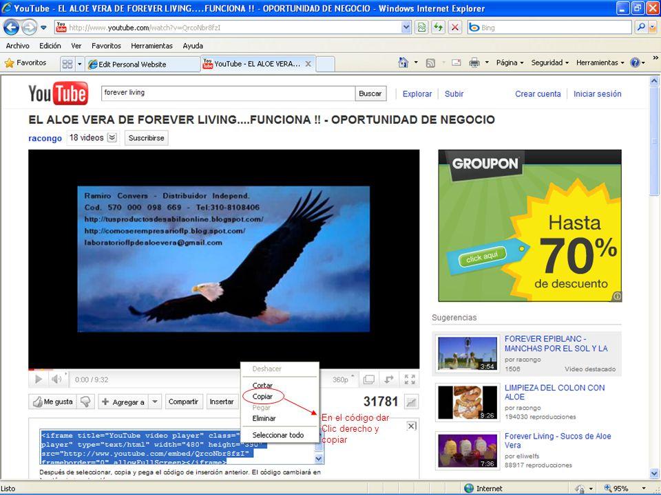 En el código dar Clic derecho y copiar