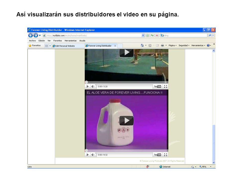Así visualizarán sus distribuidores el video en su página.