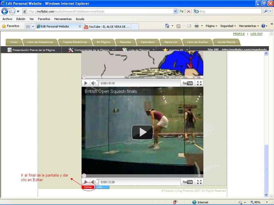 Ir al final de la pantalla y dar clic en Editar