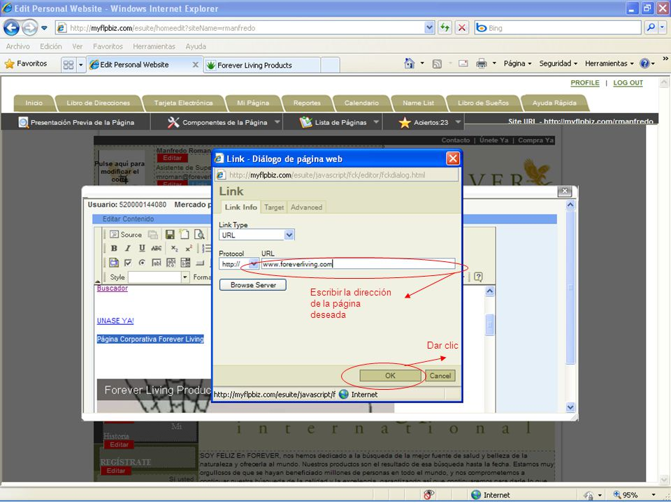 Escribir la dirección de la página deseada Dar clic