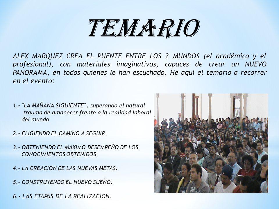 TEMARIO ALEX MARQUEZ CREA EL PUENTE ENTRE LOS 2 MUNDOS (el académico y el profesional), con materiales imaginativos, capaces de crear un NUEVO PANORAMA, en todos quienes le han escuchado.