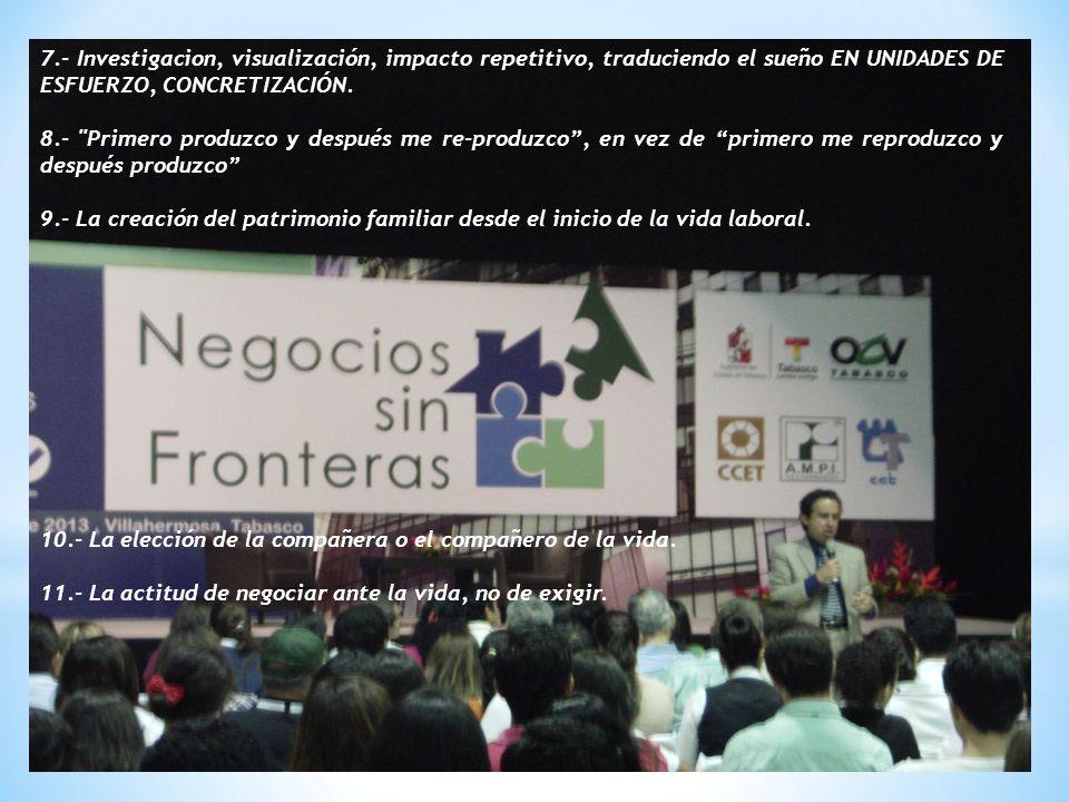 7.- Investigacion, visualización, impacto repetitivo, traduciendo el sueño EN UNIDADES DE ESFUERZO, CONCRETIZACIÓN.