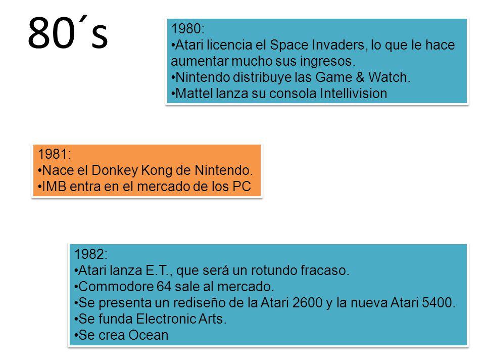 80´s 1980: Atari licencia el Space Invaders, lo que le hace aumentar mucho sus ingresos.