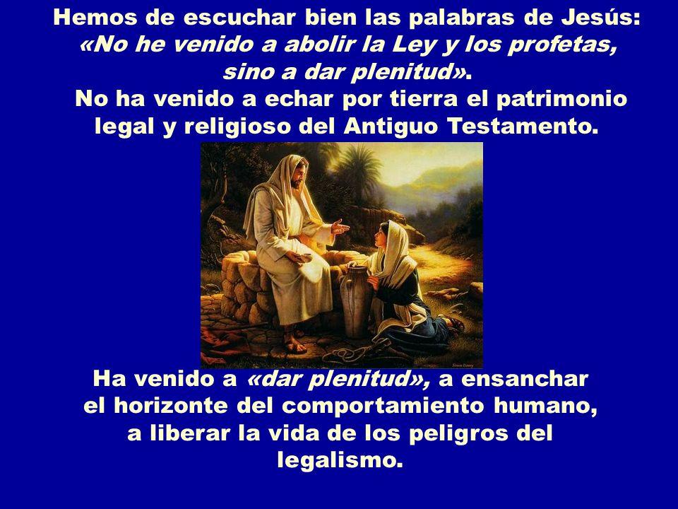 En algunas personas puede reinar la Ley, pero no Dios; son observantes, pero no saben AMAR; viven correctamente, pero no construirán un mundo más humano.