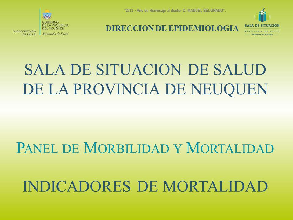 SALA DE SITUACION DE SALUD DE LA PROVINCIA DE NEUQUEN P ANEL DE M ORBILIDAD Y M ORTALIDAD INDICADORES DE MORTALIDAD DIRECCION DE EPIDEMIOLOGIA 2012 - Año de Homenaje al doctor D.