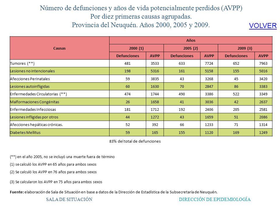 Número de defunciones y años de vida potencialmente perdidos (AVPP) Por diez primeras causas agrupadas.