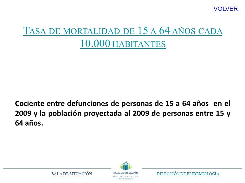 T ASA DE MORTALIDAD DE 15 A 64 AÑOS CADA 10.000 HABITANTES Cociente entre defunciones de personas de 15 a 64 años en el 2009 y la población proyectada al 2009 de personas entre 15 y 64 años.